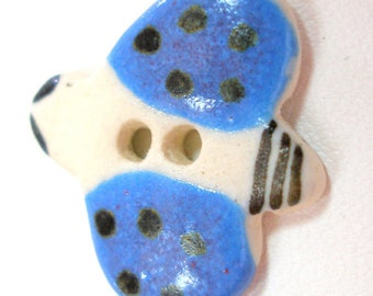 """Ceramic LADYBUG Button, Handmade insect button, 7/8""""."""