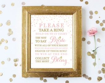 Pink and Gold Bridal Shower Games . Don't Say Bride Take a Ring Bridal Shower Game . Printable Instant Digital Download . Gold Glitter