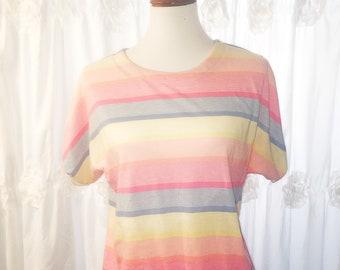 Women's Vintage Striped Pastel Short Sleeve Top