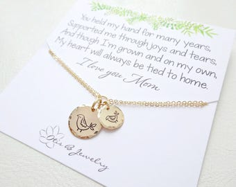 Mama bird bracelet, Charm bracelet for mom, Hand stamped jewelry, mother of bride gift, Wedding jewelry, sentimental message card, Otis B