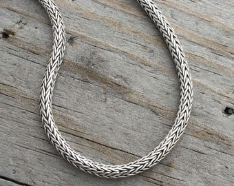 Sterling Silver Foxtail Chain 3mm Sterling Silver Chain Heavy Woven Sterling Silver Chain Bracelet