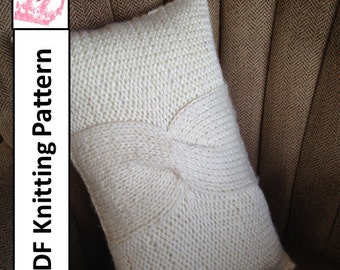 "PDF KNITTING PATTERN, Cable knit pillow cover pattern, 12""x20"", knitted cushion pattern"