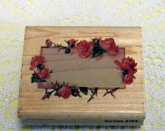Rubber Stampede  Wood Mounted Rubber Stamp Rose Border