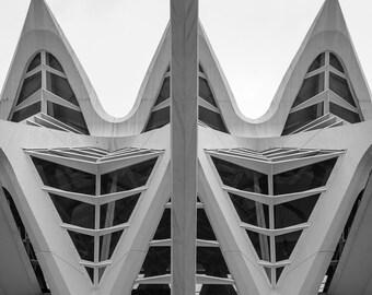 Black and white architecture photograph.