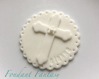 Personalized White Monochromatic Christening Cupcake Toppers