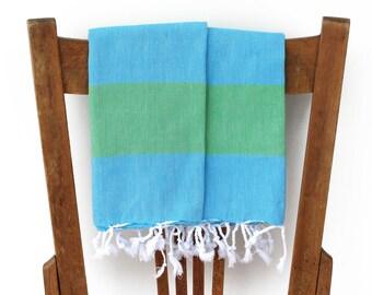 Kitchen Towels Guest Towels Set of 2 Handwoven Cotton Turkish Hand Towel Face Towel Tea Towel Bathroom Green Turquoise SEAGRASS PESHKIR SET