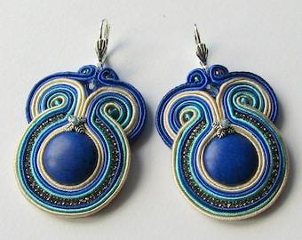 Soutache Earrings Cream - Sapphire