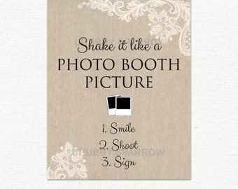 """Wedding Photo Booth, Guest Book Sign, Lace & Linen, 8x10"""", Shake it like a picture, Printable, Instant download"""