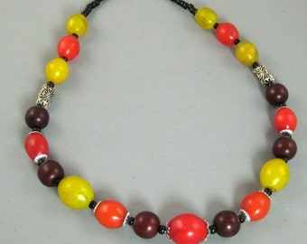 Vintage African Maasai Beads and Sterling Silver Necklace
