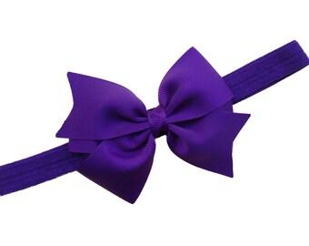 Dark purple baby headband - purple bow headband, baby headbands, baby headband bows, baby girl headband, baby headband, baby bows, bows