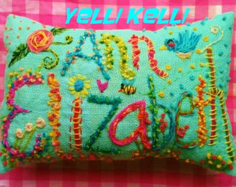 LARGE Deluxe  Bohemian Double Name Pillow Made To Order