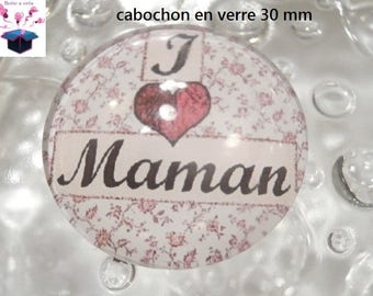 1 cabochon clear 30 mm for pendant or hanging bag themed mother's day.