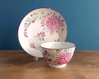 Antique Georgian Pearlware Tea Bowl and Saucer