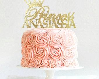 Princess Cake Topper, Personalized Tiara Cake Topper, Birthday Crown Cake Topper, First Birthday, Disney Princess Birthday Decoration