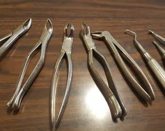 Lot of Nine Vintage Dental Tools