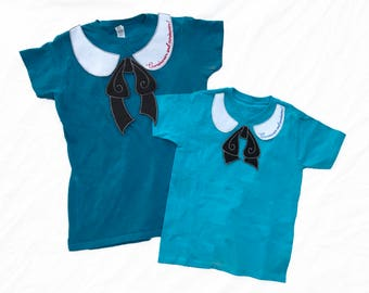 Mommy and Me Alice in Wonderland Curiouser and Curiouser peter pan collar bow patches matching DIY costume cosplay cute photo prop girls