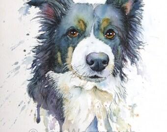 Custom pet portrait, custom dog portrait in Watercolor, pen & ink from photographs. Made to order. Dog art Pet art. Original pet painting