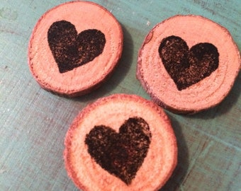 Heart Stamped Wood Rounds