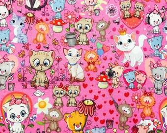 Euro Oeko-Tex Knit For the Love of Kitties Fabric 1 yard