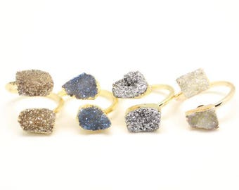 Titanium Natural Druzy Agate Two Stones Rings,Freeform Geode Gems Rings,Golden Plated Handcrafted  Adjustable Rings