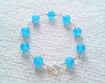 "Handmade Sterling Silver 7"" Wire-Wrapped Bracelet - Vintage Aqua color Glass Beads"