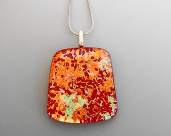 Red Dichroic Pendant, Fused Glass Necklace, Splatter Glass Pendant, Rectangle Glass Pendant, Dichroic Glass Jewelry