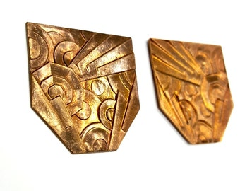 3 Pieces Framex Art Deco Findings, Raw Brass, Vintage, 38x38mm