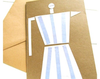 """Greeting card """"cafetiera"""", greeting card with envelope, handmade cards, coffeelove"""