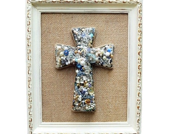 Decorative Cross, Vintage Jewelry Wall Cross, Christian Cross, Shabby Home Decor Wall Hanging