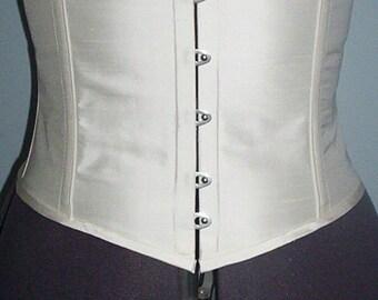 White silk duppion steel boned waist cincher