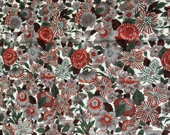 John Kaldor Fabric, Floral Print Cotton, Fabric Destash, Cotton Fabric, Colorful Cotton, Half Yard Fabric, Brown Quilt Fabric, Remnant