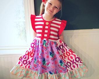 Valentine Troll dress Momi boutique custom dress