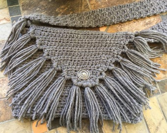 Boho bag, shoulder bag, cross-body bag, crocheted handbag