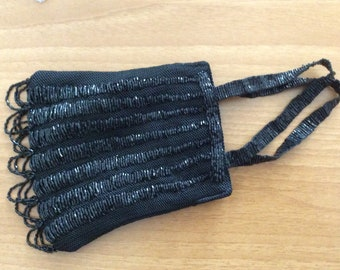 Evening Purse , Beaded purse , Black precious small purse , Wristle 1980 purse