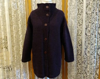 SALE! My signature handknit jacket. Shown here in plum.