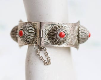Boho Cuff Bracelet - Silver Toned with Red Indian Hinged Bracelet