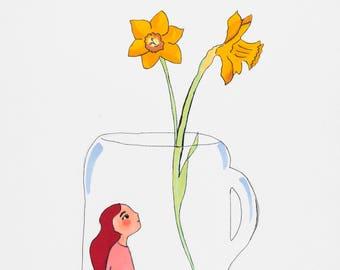 Flower art, Flower Print, girl illustration, Red hair girl illustration