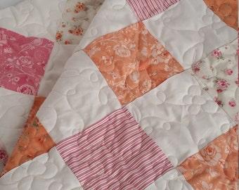 Handmade Custom Baby Blanket, Minky Patchwork Baby Quilt, Vintage Inspired Minky Baby Quilt, Vintage Look Patchwork Baby Blanket