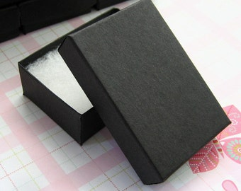 10 Matte Black Cotton Filled Jewelry Boxes High Quality 3 1/8 x 2 1/4 x 1 inch - Medium