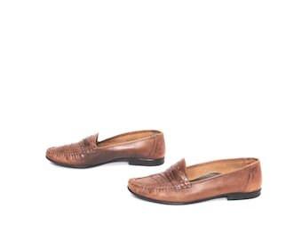mens size 12 PLAYBOY brown leather 80s OXFORD slip on loafers made in BRAZIL