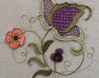 Crewel Embroidery kit- A Jacobean Study entitled Jacobean Fantasy