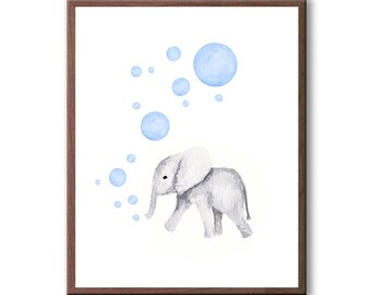 Baby Elephant Wall Art, Watercolor Painting, Kids Room Decor, Elephant, Animal Wall Art, Art Decor, Art Prints - E368W