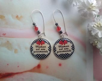 """""""MOM is a gourmet"""" earrings / mothers day gift idea"""