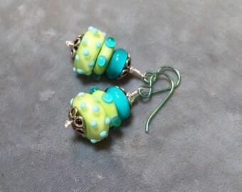 Lampwork Beaded Earrings-Bumpy Artisan Lampwork Dangle Earrings-Sterling Silver Earrings-Bumpy lampwork Beads-SRAJD-Artisan Beads