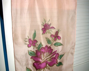 SALE pink SIlk scarf  Handpainted Magenta Flowers