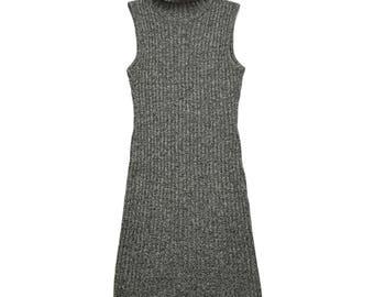 90s Gray Ribbed Turtleneck Sleeveless Midi Dress