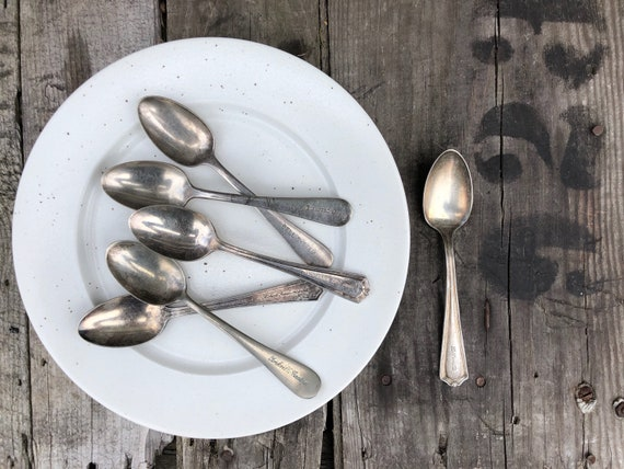 old NYC silverplate restaurant teaspoons, mixed set of six