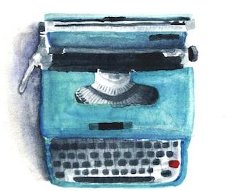 Schreibmaschine Aquarell Druck 8 x 8 blau