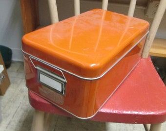 "Vintage orange tin box with lid and handle measures 14"" x 8 1/2"" x 5 1/2"""