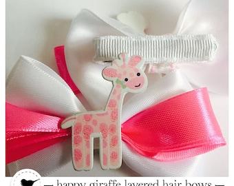 Pretty giraffe layered hair bow